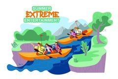 Fahnen-Sommer-extreme Unterhaltung, Karikatur vektor abbildung