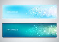 Fahnen und Titel für Standort mit DNA-Strang und Molekülstruktur Gentechnik oder Laborforschung lizenzfreie abbildung