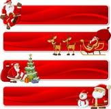 Fahnen von Weihnachtsmann auf Weihnachtszeit Stockfotos
