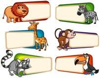 Fahnendesign mit wilden Tieren Stockfoto