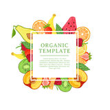 Fahnendesignschablone mit Dekoration der tropischen Frucht Quadratischer Rahmen mit dem Dekor der gesunden, saftigen Frucht Karte Lizenzfreies Stockbild