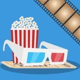 Fahnenfilm 3D Gläser, Popcorn, Film Produktion des Filmes Lizenzfreie Stockfotos