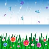 Fahnenfliese des Grases und des Himmels Lizenzfreie Abbildung