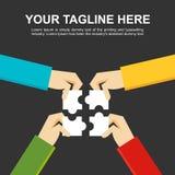 Fahnenillustration Herstellung eines Lösungskonzeptes Geschäftsleute mit Puzzlespielstücken Stockfotos