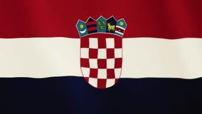 Fahnenschwenkende Animation Kroatiens Gesamter Bildschirm Symbol des Landes lizenzfreie abbildung