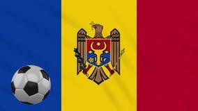 Fahnenschwenkende Moldau und Fußball dreht sich, Schleife stock abbildung