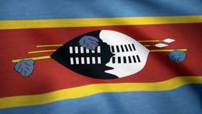 Fahnenschwenkende nahtlose Schleife Swasiland-Schmutzes Loopable schmutzige Flagge des Swazi mit in hohem Grade ausführlicher Gew Stockbild