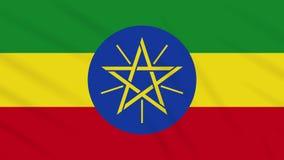Fahnenschwenkender Stoffhintergrund Äthiopiens, Schleife stock video footage