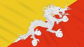 Fahnenschwenkender Stoffhintergrund Bhutans, Schleife stock abbildung