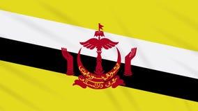 Fahnenschwenkender Stoffhintergrund Bruneis, Schleife stock abbildung