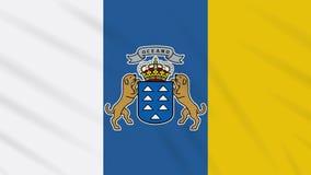 Fahnenschwenkender Stoffhintergrund der Kanarischen Inseln, Schleife lizenzfreie abbildung