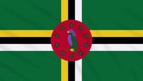 Fahnenschwenkender Stoffhintergrund Dominicas, Schleife stock footage
