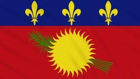 Fahnenschwenkender Stoffhintergrund Guadeloupes, Schleife stock video