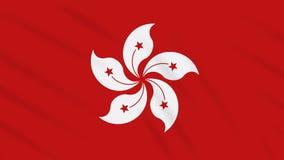 Fahnenschwenkender Stoffhintergrund Hong Kongs, Schleife stock video footage