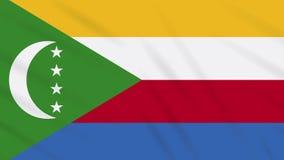 Fahnenschwenkender Stoffhintergrund Komoren, Schleife vektor abbildung