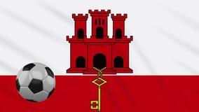 Fahnenschwenkendes Gibraltar und Fußball dreht sich, Schleife lizenzfreie abbildung