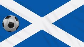 Fahnenschwenkendes Schottland und Fußball dreht sich, Schleife stock abbildung