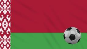 Fahnenschwenkendes Weißrussland und Fußball dreht sich, Schleife stock abbildung