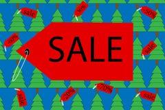 Fahnenverkauf mit Weihnachtsbäumen Lizenzfreies Stockfoto