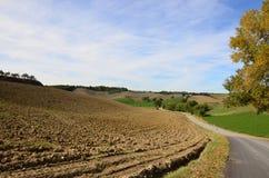 Fahrbahn in der toskanischen Landschaft stockfotos