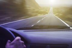 Fahren der schnell- Cockpitansicht Stockfotografie
