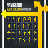 Fahren des Navigators Route Direction Arrow Stockfotos