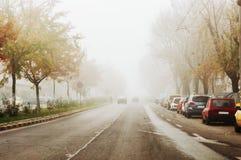 Fahren an einem nebeligen Tag Stockbild