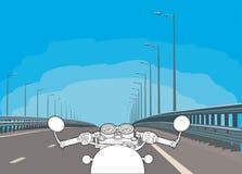 Fahren eines Motorrades auf einer Landstraße Flacher Vektor stockbild