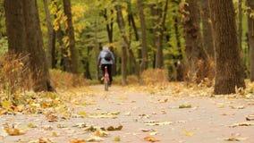 Fahren Fahrrads im Herbstpark stock footage