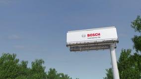 Fahren in Richtung zur Werbungsanschlagtafel mit Robert Bosch-GmbHlogo Redaktionelles 3D, das Klipp 4K überträgt vektor abbildung