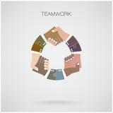 Fahren Sie abstrakte Designschablone des Händedrucks, Partnerschaftssymbol rad Stockfotos