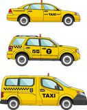 Fahren Sie Auto auf einem weißen Hintergrund in einer flachen Art mit einem Taxi Lizenzfreie Stockfotos