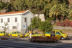 Fahren Sie Autos von den verschiedenen Arten mit einem Taxi, die auf Kunden warten Lizenzfreies Stockfoto