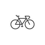 Fahren Sie, Fahrradlinie Ikone, Entwurfsvektorzeichen, das lineare Artpiktogramm rad, das auf Weiß lokalisiert wird lizenzfreies stockfoto