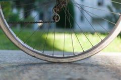 Fahren Sie halbes Rad auf altem dunkelgrünem italienischem Frauenfahrrad mit lig rad Lizenzfreie Stockbilder