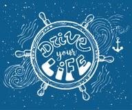 Fahren Sie Ihre Leben-Motivaufschrift Hand gezeichnete Gekritzelweinleseillustration mit Handbeschriftung und Helm Für Grußkarte, Stockbild