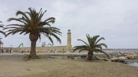 Fahren Sie Leuchtturm mit zwei Palmen auf dem Strand die Küste entlang lizenzfreie stockbilder