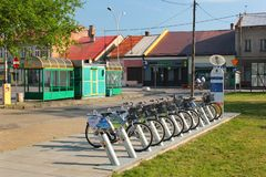 Fahren Sie Mietstation in Stalowa Wola, Polen rad stockfoto