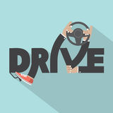 Fahren Sie mit Lenkrad-in der Hand Typografie-Design Stockbilder