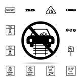 fahren Sie nicht auf Schienenikone Bahnwarnungsikonen-Universalsatz für Netz und Mobile vektor abbildung