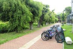 Fahren Sie Parken durch Straße des roten Backsteins von Xiamen-Universität, luftgetrockneter Ziegelstein rgb rad Lizenzfreie Stockfotografie