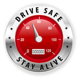 Fahren Sie Safe und bleiben Sie lebendige Ikone oder Symbol - sicheren treibenden Konzeptvektor Lizenzfreie Stockbilder