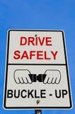 Fahren Sie sicher Warnzeichen Stockbild