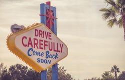 Fahren Sie sorgfältig Las Vegas-Zeichen Lizenzfreie Stockfotografie