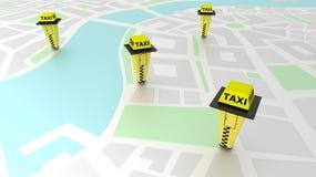 Fahren Sie Telefonzellen auf einer generischen Karte mit einem Taxi, die Taxistandstandorte veranschaulicht Stockfoto