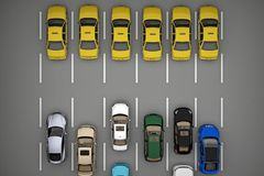 Fahren Sie Verkehr vor dem Rest der Autos mit einem Taxi Stockfoto