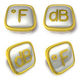 Fahrenheit and Decibel 3d metalic square Symbol button . 3D Icon Royalty Free Stock Images