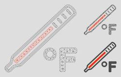 Fahrenheit Medycznego termometru siatki ścierwa trójboka i modela mozaiki Wektorowa ikona royalty ilustracja