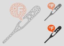 Fahrenheit siatki sieci trójboka i modela mozaiki Temperaturowa Wektorowa ikona ilustracja wektor