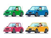 Fahrer im Auto Männer und Frauentreiber in den Autos, die aus Fenster heraus schauen Karikaturleutereise in der Fahrzeugvektorill lizenzfreie abbildung